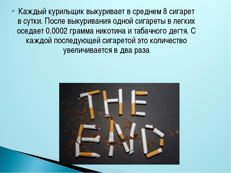 Каждый курильщик выкуривает в среднем 8 сигарет в сутки. После выкуривания од...