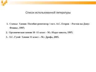 Список использованной литературы 1. Схемы: Химия Пособие-репетитор / сост. А