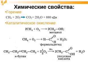 Химические свойства: Горение Каталитическое окисление