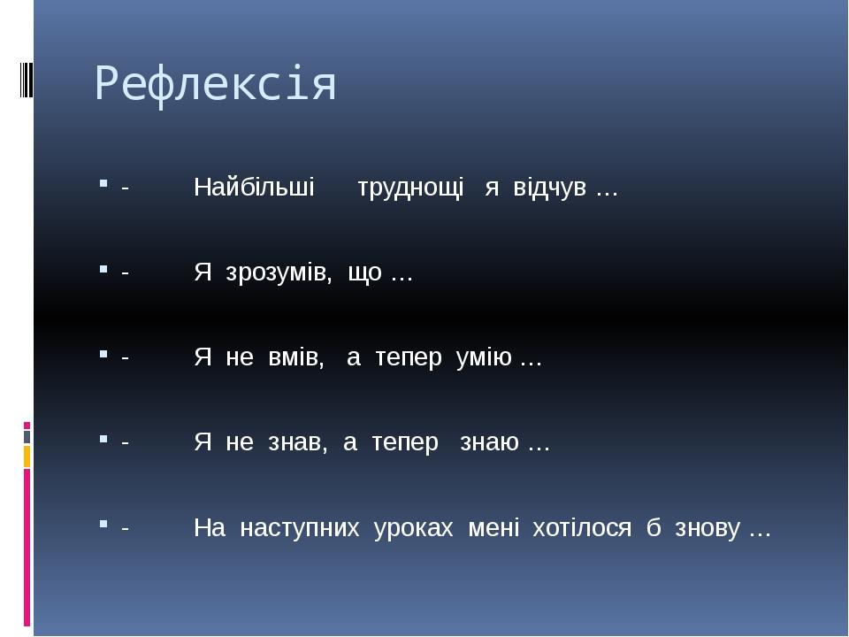 Рефлексія - Найбільші труднощі я відчув … - Я зрозумів, що … - Я не вмів, а т...