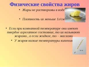 Физические свойства жиров Жиры не растворимы в воде Плотность их меньше 1г/см