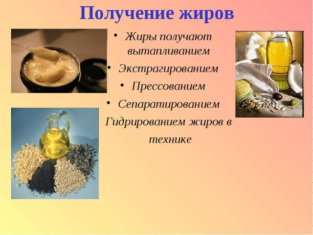 Получение жиров Жиры получают вытапливанием Экстрагированием Прессованием Сеп...
