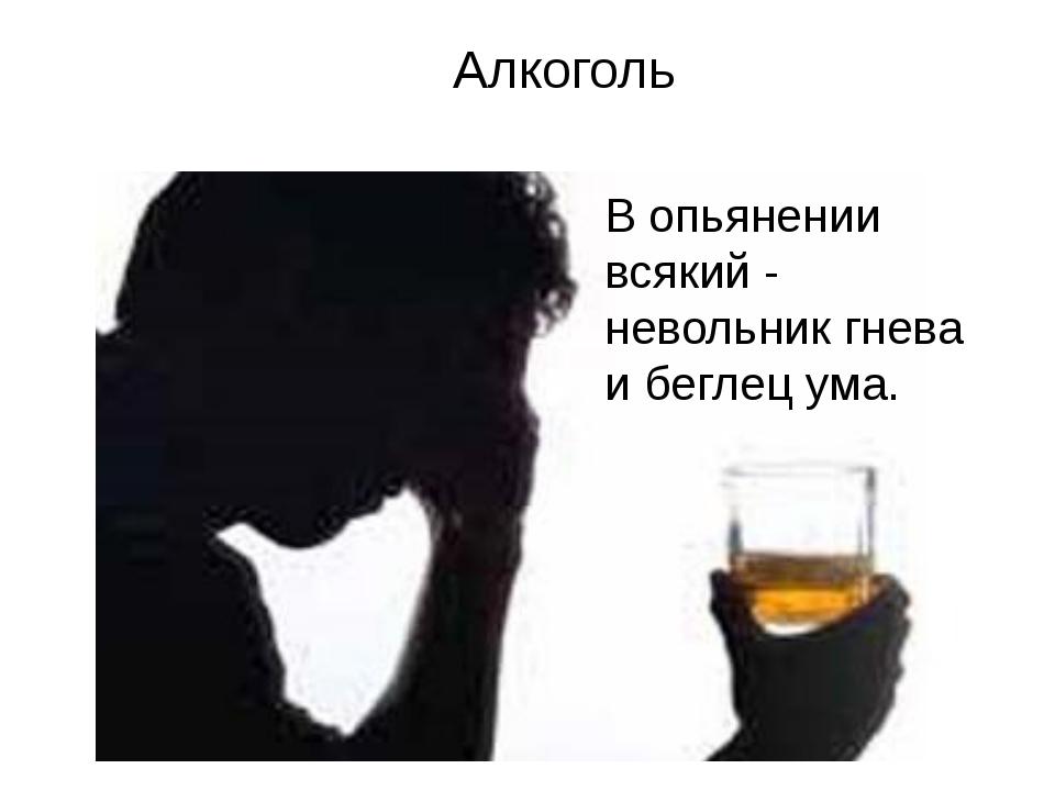 В опьянении всякий - невольник гнева и беглец ума. Алкоголь
