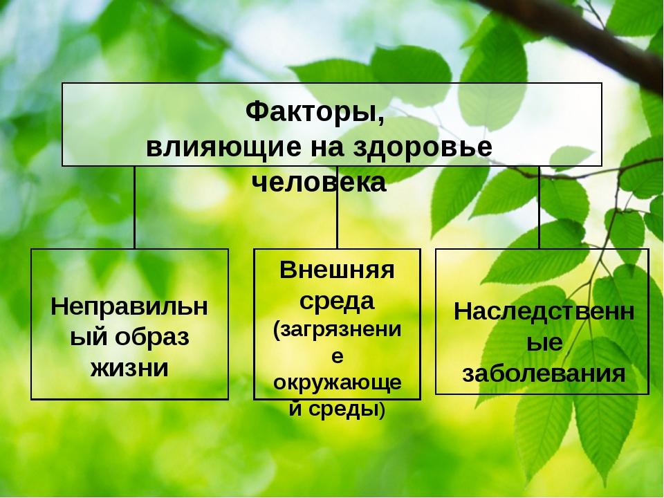 Факторы, влияющие на здоровье человека Неправильный образ жизни Внешняя сред...