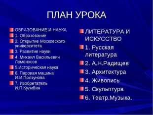 ПЛАН УРОКА ОБРАЗОВАНИЕ И НАУКА 1. Образование 2. Открытие Московского универс