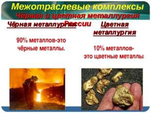 Межотраслевые комплексы Чёрная и цветная металлургия России Чёрная металлурги