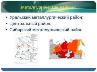 Металлургические районы: Уральский металлургический район; Центральный район;