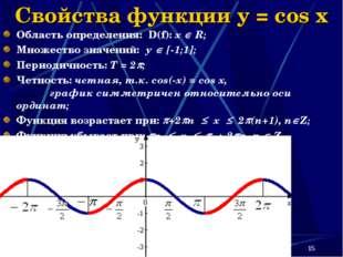 * Свойства функции y = cos x Область определения: D(f): х  R; Множество знач