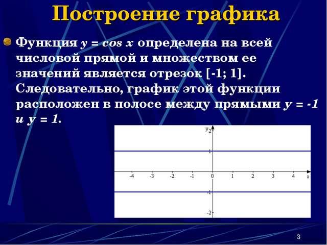 * Построение графика Функция y = cos x определена на всей числовой прямой и м...