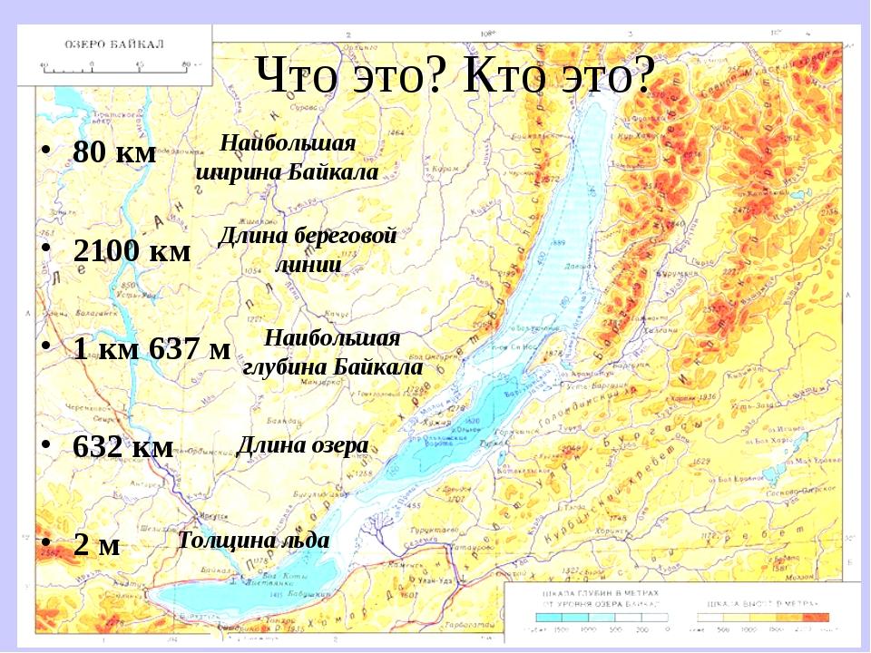 Что это? Кто это? 80 км 2100 км 1 км 637 м 632 км 2 м Наибольшая ширина Байка...