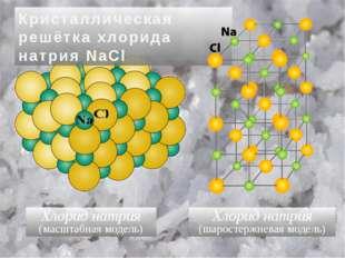 Хлорид натрия (масштабная модель) Хлорид натрия (шаростержневая модель) Крист