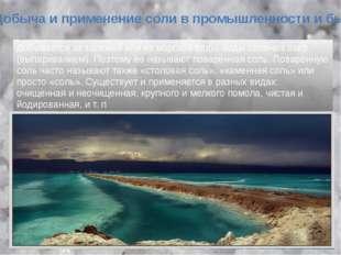 Добывается из залежей или из морской воды, воды соленых озёр (выпариванием).