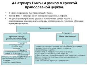 4.Патриарх Никон и раскол в Русской православной церкви. В 1652 г. патриархом