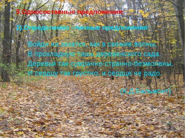 5.Односоставные предложения:  1).Определенно –личные предложения:  Войд...