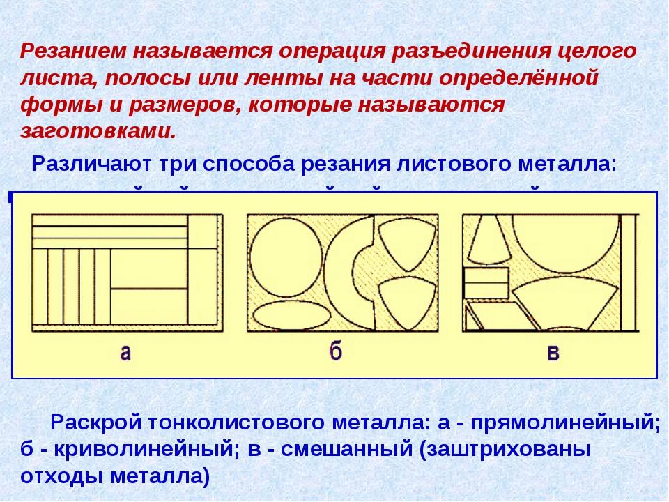 Резанием называется операция разъединения целого листа, полосы или ленты на...