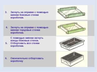 3. Загнуть на оправке с помощью киянки боковые стенки коробочки. 4. Загнуть