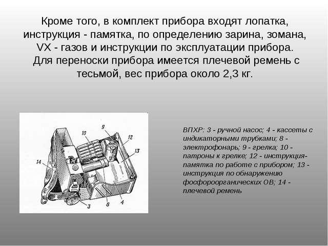 ВПХР: 3 - ручной насос; 4 - кассеты с индикаторными трубками; 8 - электрофона...