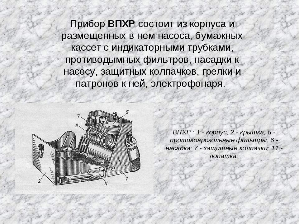 Прибор ВПХР состоит из корпуса и размещенных в нем насоса, бумажных кассет с...
