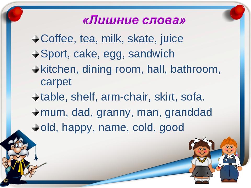 Coffee, tea, milk, skate, juice Sport, cake, egg, sandwich kitchen, dining ro...