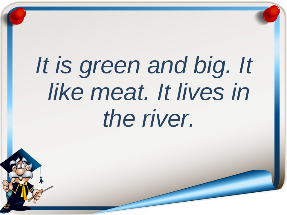 It is green and big. It like meat. It lives in the river.