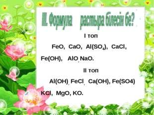 I топ FeO, CaO, Al(SO4), CaCl, Fe(OH), AlO, NaO. II топ Al(OH), FeCl, Ca(OH),