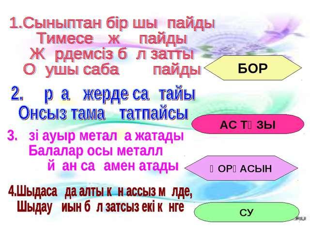 БОР АС ТҰЗЫ ҚОРҒАСЫН СУ