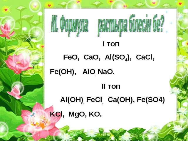 I топ FeO, CaO, Al(SO4), CaCl, Fe(OH), AlO, NaO. II топ Al(OH), FeCl, Ca(OH),...