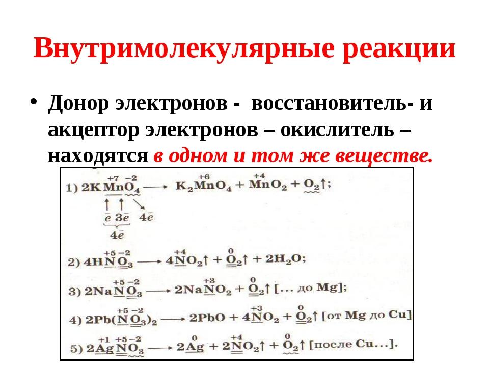 Внутримолекулярные реакции Донор электронов - восстановитель- и акцептор элек...