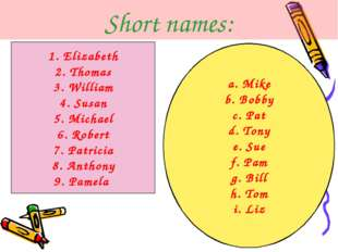 Short names: 1. Elizabeth 2. Thomas 3. William 4. Susan 5. Michael 6. Robert