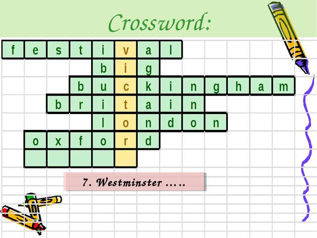 Crossword: 7. Westminster …..