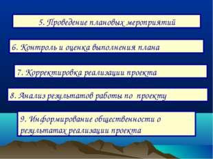 5. Проведение плановых мероприятий 6. Контроль и оценка выполнения плана 7. К