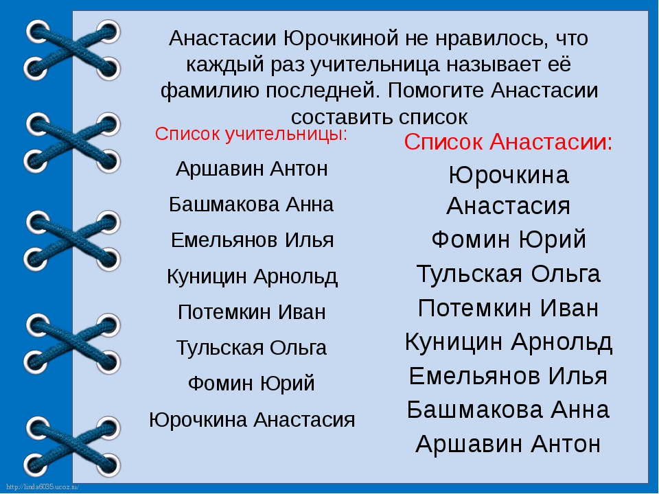 Анастасии Юрочкиной не нравилось, что каждый раз учительница называет её фами...