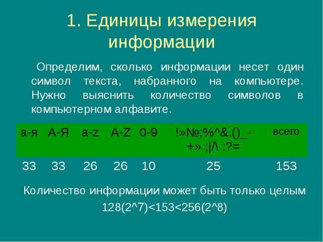 1. Единицы измерения информации Определим, сколько информации несет один сим...