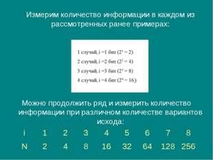Измерим количество информации в каждом из рассмотренных ранее примерах: Можн