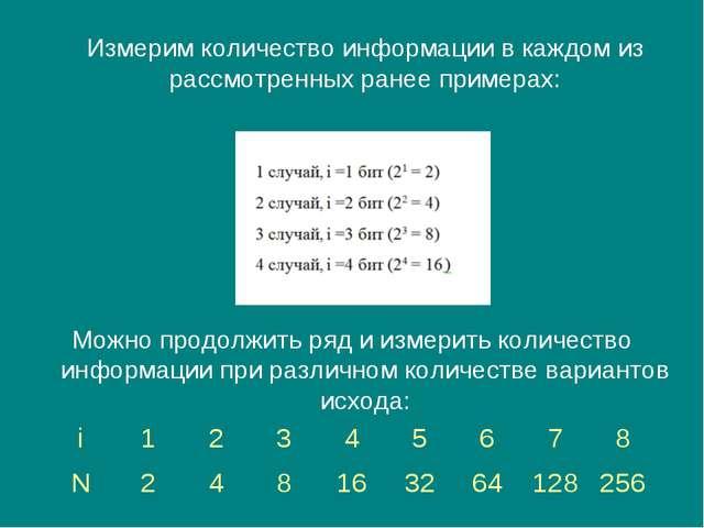 Измерим количество информации в каждом из рассмотренных ранее примерах: Можн...