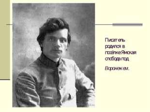 Писатель родился в посёлке Ямская слобода под Воронежем.