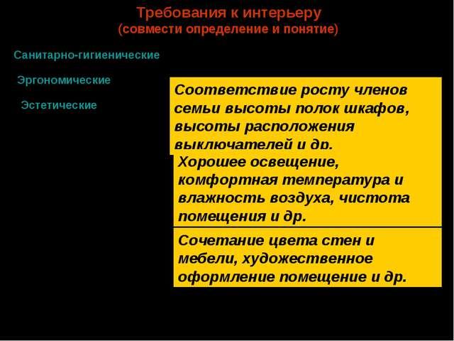 Требования к интерьеру (совмести определение и понятие) Санитарно-гигиеническ...