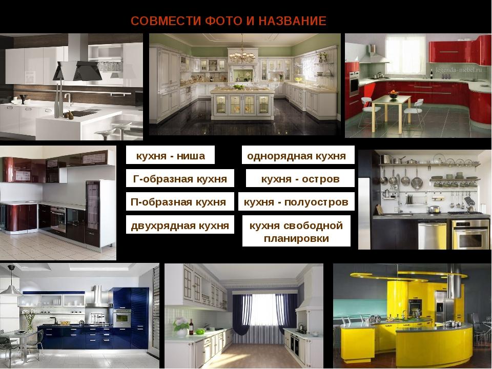 СОВМЕСТИ ФОТО И НАЗВАНИЕ кухня - ниша Г-образная кухня П-образная кухня двухр...