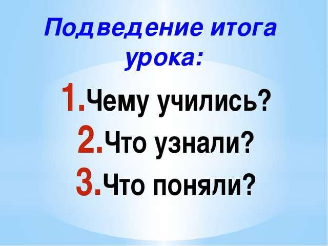 Подведение итога урока: Чему учились? Что узнали? Что поняли?