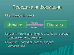 Передача информации Происходит по схеме Источник Приемник Каналы связи Источн