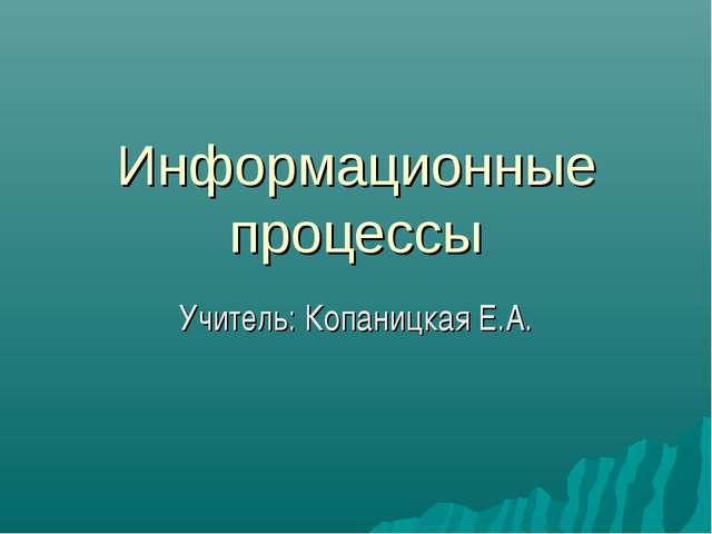 Информационные процессы Учитель: Копаницкая Е.А.