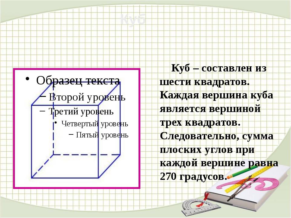 Куб – составлен из шести квадратов. Каждая вершина куба является вершиной тр...