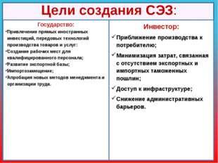 Цели создания СЭЗ: Инвестор: Приближение производства к потребителю; Минимиза