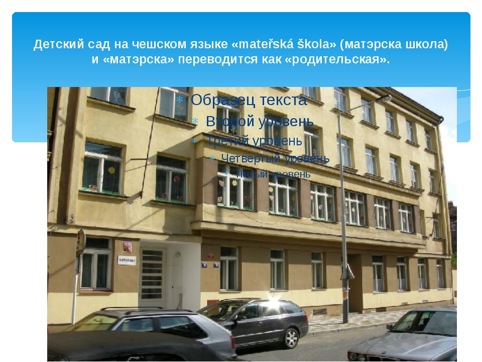 Детский сад на чешском языке «mateřská škola» (матэрска школа) и «матэрска» п...