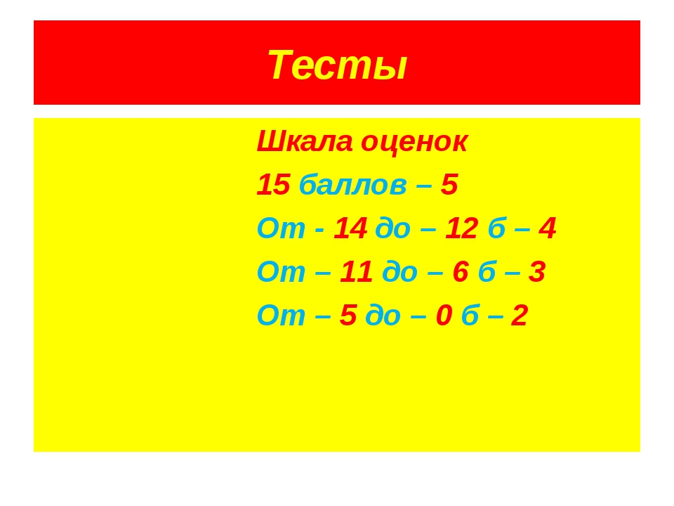 Тесты Шкала оценок 15 баллов – 5 От - 14 до – 12 б – 4 От – 11 до – 6 б – 3 О...