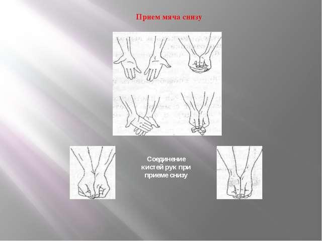 Прием мяча снизу Соединение кистей рук при приеме снизу