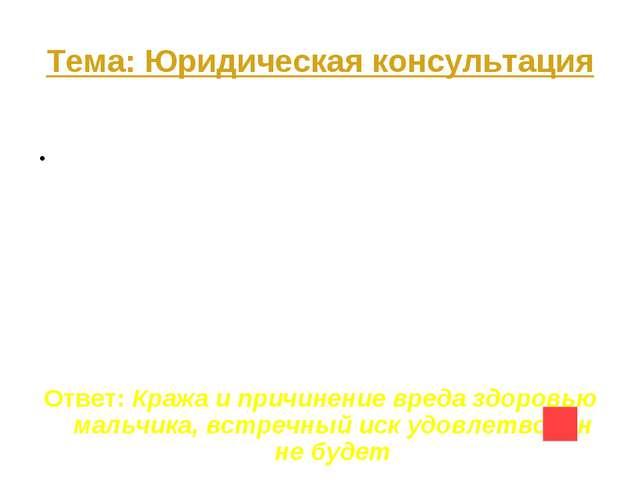 Тема: Юридическая консультация Вопрос на 50 Двенадцатилетний Сергей находился...