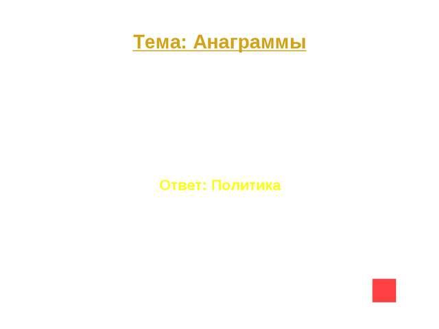 Тема: Анаграммы Вопрос на 20 И П О К А Л И Т Ответ: Политика