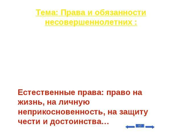 Тема: Права и обязанности несовершеннолетних : Вопрос на 50 Как называются пр...