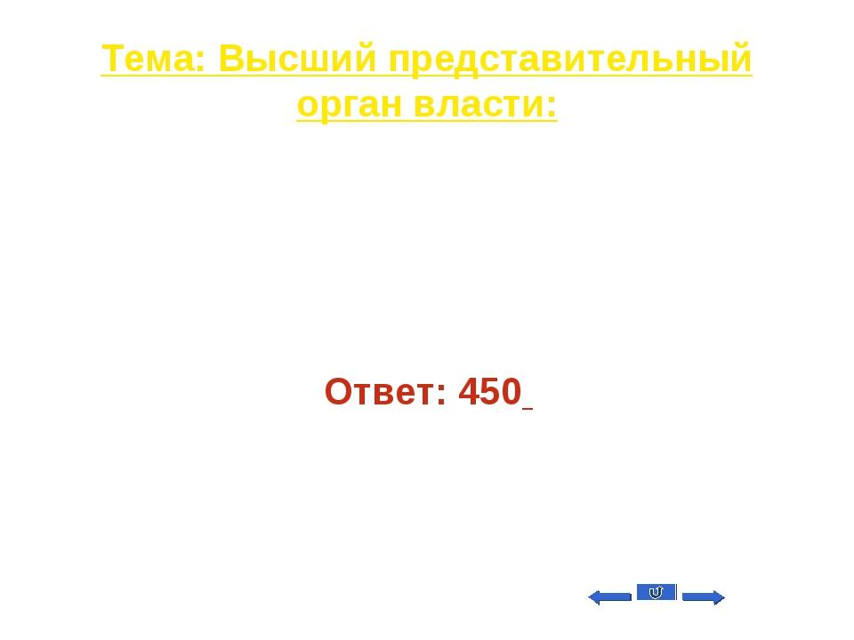 Тема: Высший представительный орган власти: Вопрос на 40 Сколько депутатов вк...